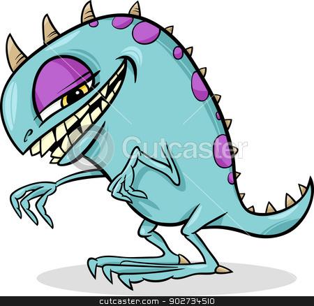 cartoon funny monster illustration stock vector clipart, Cartoon Illustration of Funny Monster or Fright or Bogie by Igor Zakowski