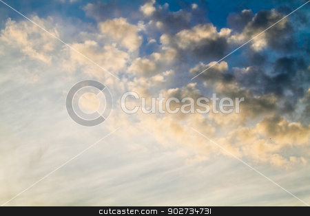 blue sky with clouds stock photo, sky with clouds by budastock