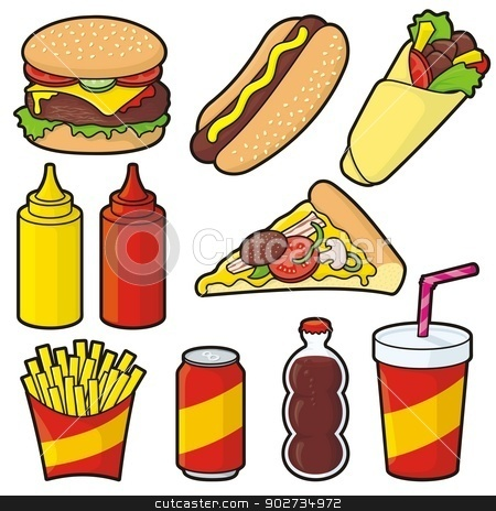 Fast food icons stock vector clipart, Fast food icons isolated on white by fractal.gr