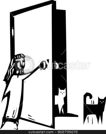 Cat Door stock vector clipart, Woodcut style image of a girl open a door for cats. by Jeffrey Thompson
