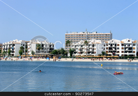 Alcudia Bay and beach stock photo, ALCUDIA BAY, MAJORCA, SPAIN - 4th August 2013: Alcudia Bay resort on the 4th August 2013. This is a popular tourist destination every summer, particularly from visitors from European countries. by Martin Crowdy