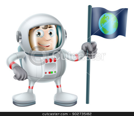 Cartoon Astronaut stock vector clipart, An illustration of a cute cartoon astronaut planting an earth flag by Christos Georghiou