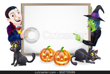 Halloween Dracula and Witch Sign stock vector clipart, Halloween sign or banner with orange Halloween pumpkins and black witch's cats, witch's broom stick and cartoon Dracula and witch characters  by Christos Georghiou