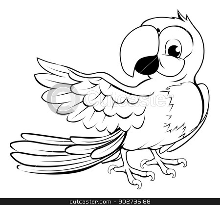 Parrot pointing stock vector clipart, Cartoon parrot character in black outline pointing with its wing by Christos Georghiou