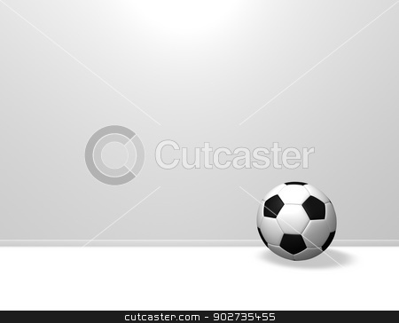 soccer ball stock photo, soccer ball in front of white wound - 3d illustration by J?