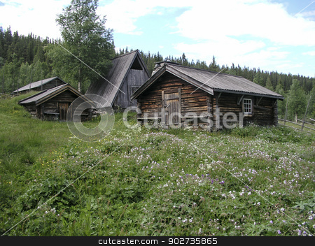 Landscape stock photo, Mountain landscape and  wooden cabin in Sweden  by Sasas Design