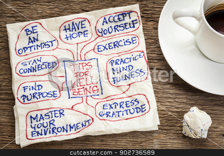tips for well-being stock photo, tips for well-being - a napkin doodle with a cup of coffee by Marek Uliasz