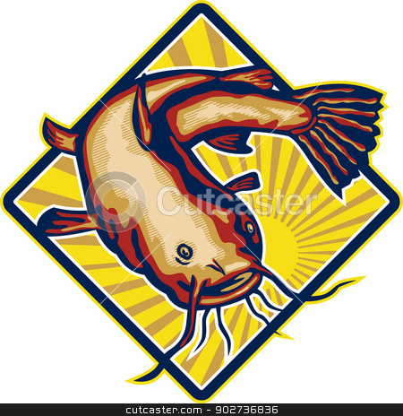 Catfish Mud Cat Polliwog Jumping Retro stock vector clipart, Illustration of a ray-finned fish catfish also known as mud cat, polliwogs or chucklehead jumping set inside diamond shape with sunburst done in retro style. by patrimonio
