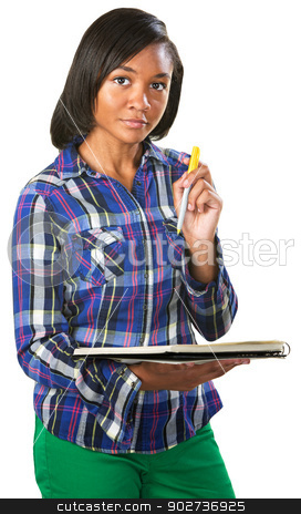 Teenage Student Listening stock photo, Intelligent young African woman with notebook and pen by Scott Griessel