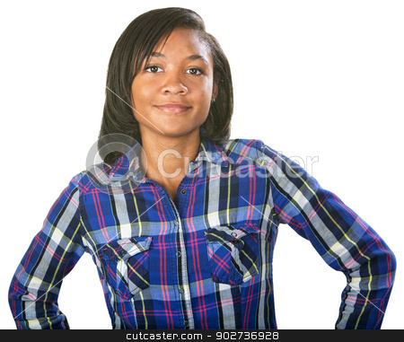 Glad Teenager stock photo, Glad single teenage female in flannel shirt by Scott Griessel