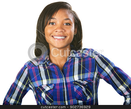 Teenager Smiling stock photo, Confident young African woman with smile on white background by Scott Griessel