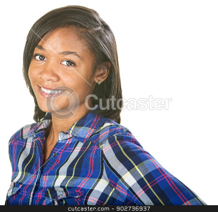 Enthusiastic Young Woman stock photo, Enthusiastic young Black female on isolated background by Scott Griessel