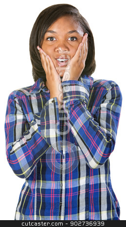 Astonished Teenager stock photo, Astonished young person e in flannel shirt over isolated background by Scott Griessel