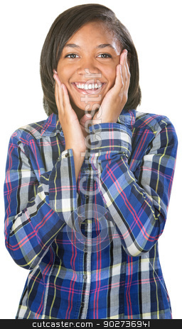 Flattered Young Woman stock photo, Flattered teen African female in flannel shirt by Scott Griessel