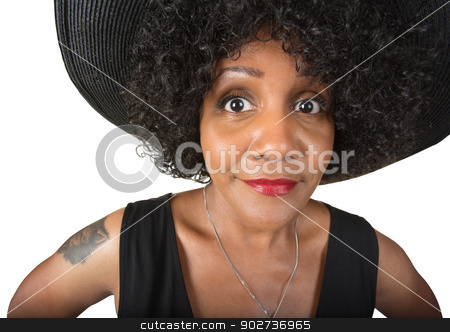 Cheerful Black Woman stock photo, Cheerful mature Black woman on isolated background by Scott Griessel