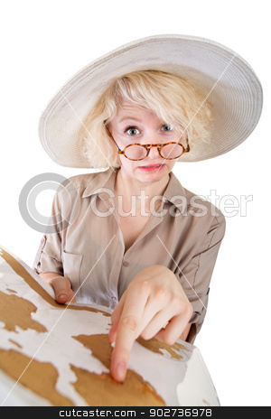 Person Looking for Directions stock photo, Confused woman trying to find directions on a map by Scott Griessel