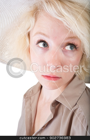Scared Woman stock photo, Scared young white female on isolated background by Scott Griessel