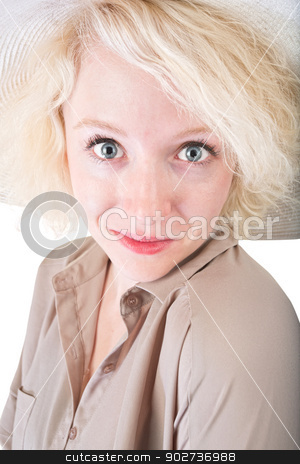 Grinning Cute Female stock photo, Grinning young blond woman on white background by Scott Griessel