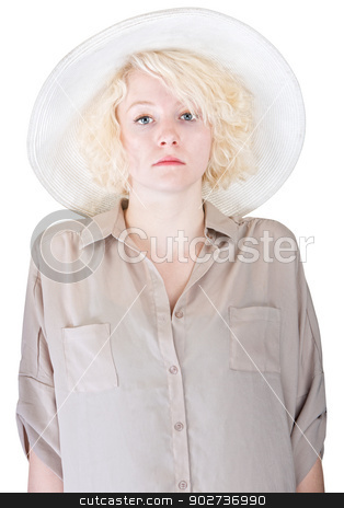 Rigid Lady in Brown stock photo, Single stoic European female with safari cap and shirt by Scott Griessel