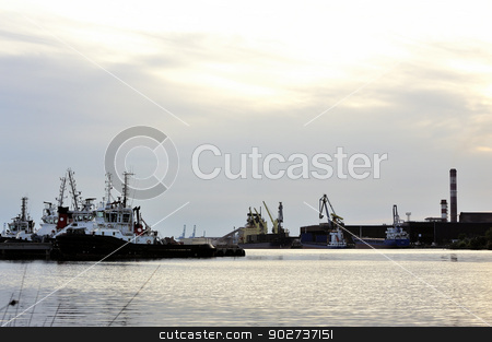 Tug boats with quay for the evening stock photo, Tug boats with quay for the evening in a creek of Fos on Sea beside Marseille. by Paire
