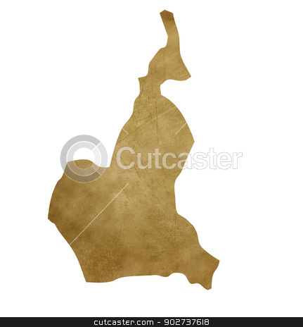 Cameroon grunge treasure map stock photo, Cameroon grunge map in treasure style isolated on white background. by Martin Crowdy