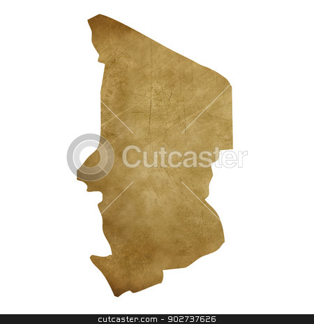 Chad grunge treasure map stock photo, Chad grunge map in treasure style isolated on white background. by Martin Crowdy