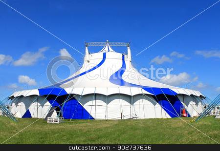 Circus big top tent in summer stock photo, Circus big top tent in summer, blue sky background. by Martin Crowdy