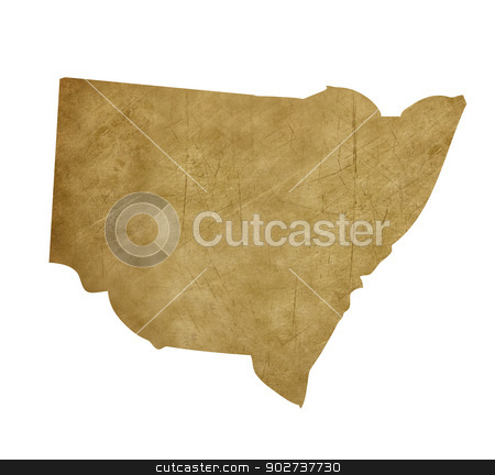 Grunge New South Wales treasure map stock photo, Grunge New South Wales map in treasure style isolated on white background. by Martin Crowdy