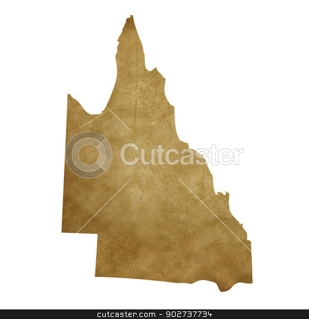 Grunge Queensland treasure map stock photo, Grunge Queensland map in treasure style isolated on white background. by Martin Crowdy