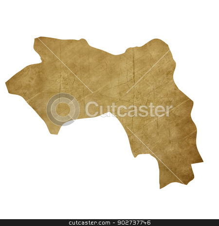 Guinea grunge treasure map stock photo, Guinea grunge map in treasure style isolated on white background. by Martin Crowdy