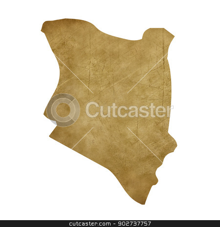 Kenya grunge treasure map stock photo, Kenya grunge map in treasure style isolated on white background. by Martin Crowdy