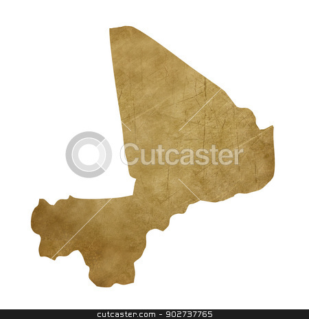 Mali grunge treasure map stock photo, Mali grunge map in treasure style isolated on white background. by Martin Crowdy