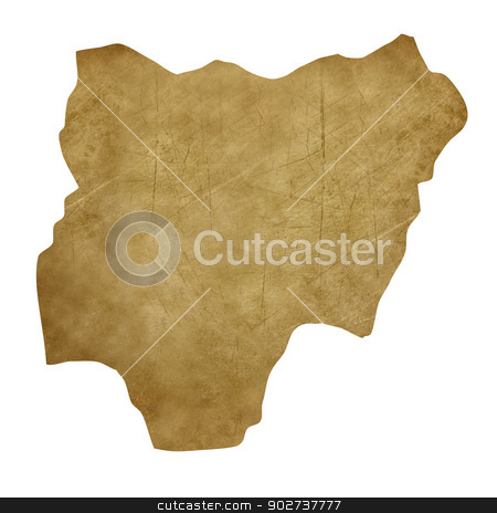 Nigeria grunge treasure map stock photo, Nigeria grunge map in treasure style isolated on white background. by Martin Crowdy