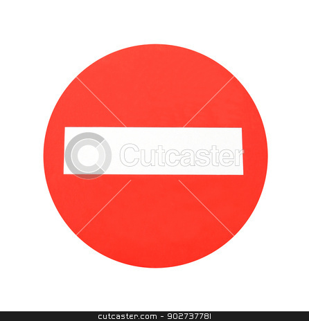 Red warning sign stock photo, Red warning sign isolated on white background. by Martin Crowdy