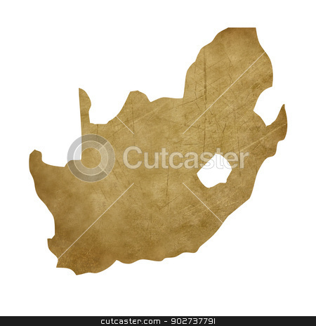 South Africa grunge treasure map stock photo, South Africa grunge map in treasure style isolated on white background. by Martin Crowdy