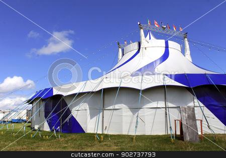 Striped circus big top tent stock photo, Scenic view of striped circus big top tent. by Martin Crowdy