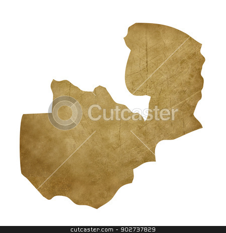 Zambia grunge treasure map stock photo, Zambia grunge map in treasure style isolated on white background. by Martin Crowdy