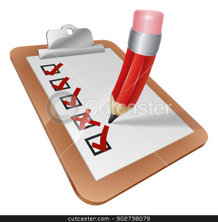 Cartoon Survey Clipboard with Pencil stock vector clipart, An illustration of a cartoon pencil writing on a survey clipboard by Christos Georghiou