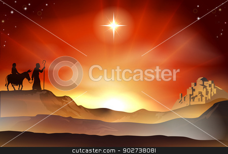 Nativity Christmas story illustration stock vector clipart, Mary and Joseph Nativity Christmas illustration with Mary and Joseph journeying through the dessert with a donkey and the city of Bethlehem in the background. by Christos Georghiou