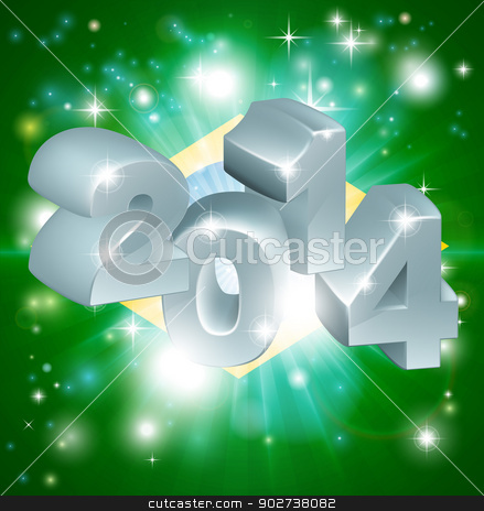 2014 Brazil flag stock vector clipart, Flag of Brazil 2014 background. New Year or similar concept by Christos Georghiou