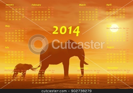 Elephants 2014 calendar - 3D render stock photo, English 2014 monthly calendar and mum elephant with baby by foggy sunset in background by Elenarts