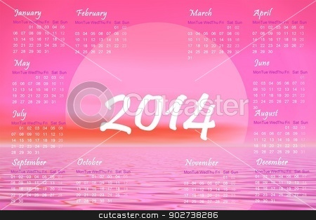 Pink sunset 2014 calendar - 3D render stock photo, English 2014 monthly calendar and pink sunset over the ocean by Elenarts