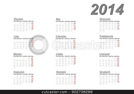 Polish calendar for 2014 stock photo, Polish calendar for 2014 on white background by Elenarts