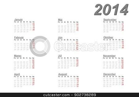 Slovak calendar for 2014 stock photo, Slovak calendar for 2014 on white background by Elenarts