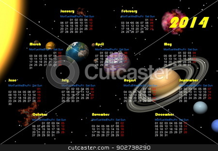 Universe 2014 calendar - 3D render stock photo, English 2014 monthly calendar and planets in the universe by Elenarts