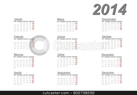 Hungarian calendar for 2014 stock photo, Hungarian calendar for 2014 on white background by Elenarts