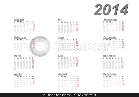 Romanian calendar for 2014 stock photo, Romanian calendar for 2014 on white background by Elenarts
