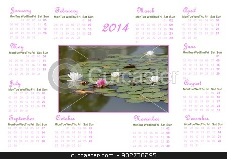 Zen english calendar for 2014 stock photo, English calendar for 2014 on white background with water lilies and leaves by Elenarts