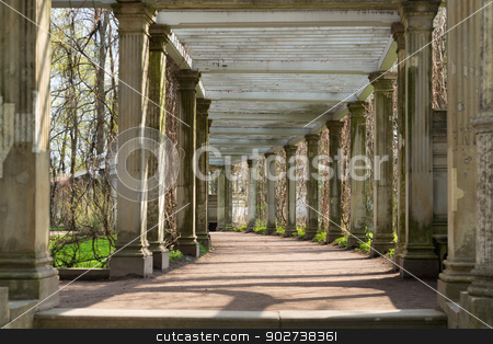 antique columns corridor stock photo, Ancient columns corridor in spring grass. St. Petersburg, Russia, Catherine Park by Ruslan Kudrin