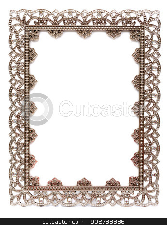 An empty metal frame isolated on white stock photo, Metal frame with empty space for design. by Ruslan Kudrin